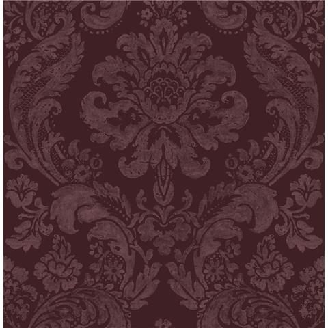 A STREET PRINTS moonlight WALLPAPER shadow Damask flock 2763-87315 wine