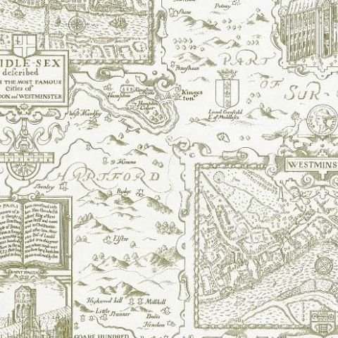 Thibaut Anniversary London Map Wallpaper T6008 Green on Cream