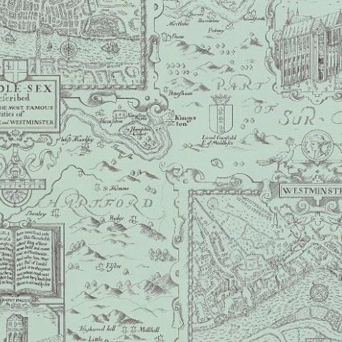 Thibaut Anniversary London Map Wallpaper T6009 Aqua