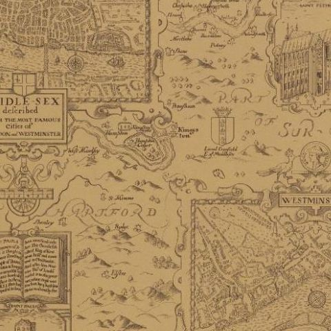 Thibaut Anniversary London Map Wallpaper T6010 Tobacco
