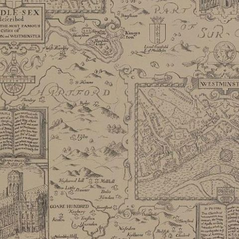 Thibaut Anniversary London Map Wallpaper T6011Linen