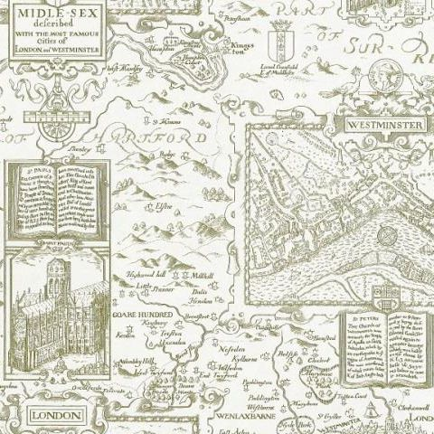 Thibaut Anniversary London Map Wallpaper T6012 Off White