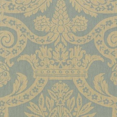 Thibaut Anniversary Havard Damask Wallpaper T6025 Pearl on Aqua