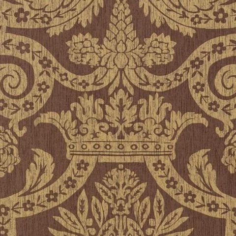 Thibaut Anniversary Havard Damask Wallpaper T6026 Metallic on Brown