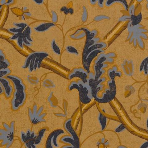 TThibaut Anniversary Demark Wallpaper T6033 Navy and Camel