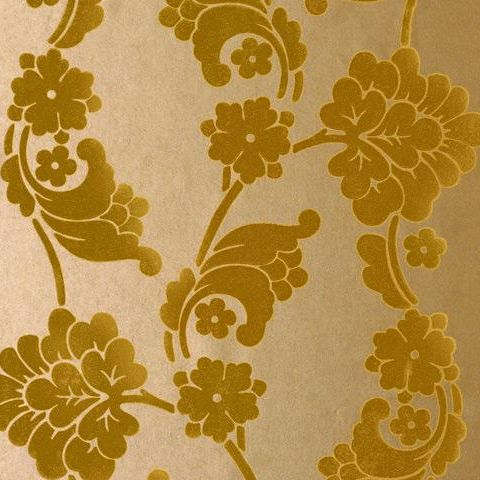 Anna French Wild Flora Velvet Jacquard -Flock Wallpaper-Gold