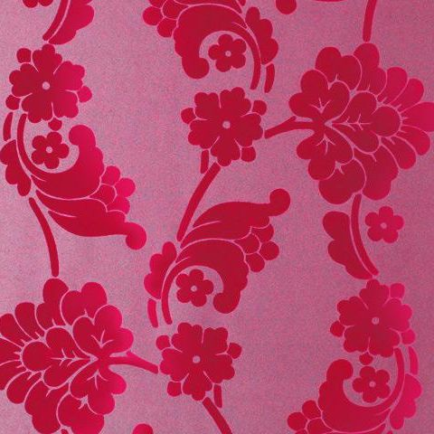 Anna French Wild Flora Velvet Jacquard-Flock Wallpaper-Pink