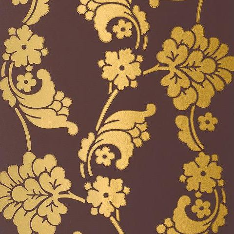Anna French Wild Flora Velvet Jacquard Wallpaper-Brown/Gold