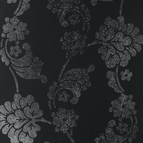 Anna French Wild Flora Velvet Jacquard Wallpaper-Black/Glitter