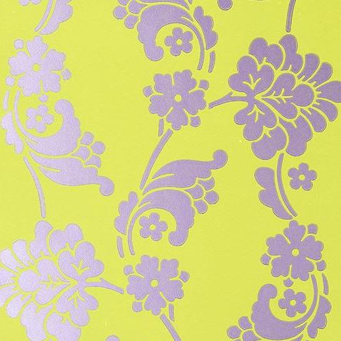 Anna French Wild Flora Velvet Jacquard Wallpaper-Green/Purple