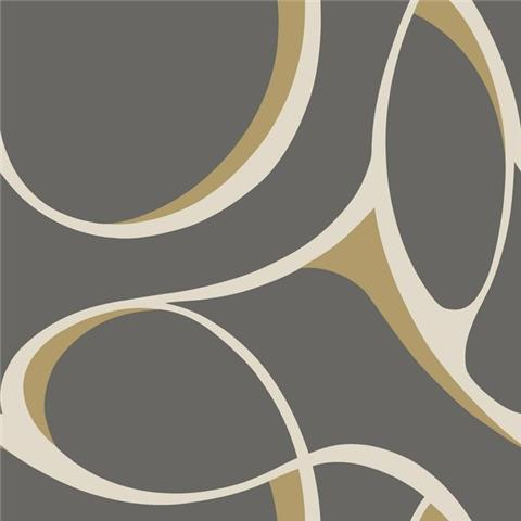 York Designer Series Dazzling Dimensions Wallpaper-Elliptical Y6200101 Charcoal/Gold