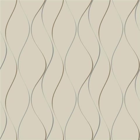 York Designer Series Dazzling Dimensions Wallpaper-Wavy Stripe Y6201404 Taupe/Gold